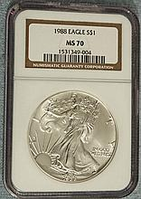 1988 Silver American Eagle (NGC MS-70) - L22563
