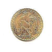 French 20 Franc Rooster Gold Coin, 1901-1914 - L19496
