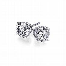 1.50 ctw Round cut Diamond Stud Earrings G-H, SI2 - L11454