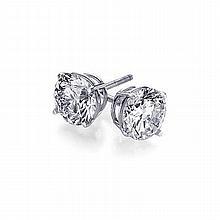 0.66 ctw Round cut Diamond Stud Earrings G-H, VS - L11429