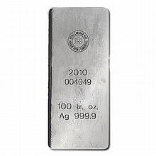 Silver Bars: Royal Canadian Mint 100 oz .9999 fine - L18021