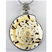 Natural 201.87ctw Mother Of PearlSea Shell Silver Pendant - L17839