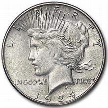 1924-S Peace Dollar - Almost Uncirculated - L31459