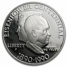 1990-P Eisenhower Centennial $1 Silver Commem - PR-69 DCAM PCGS - L30429