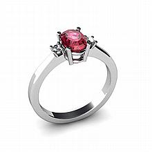 Garnet 0.55ctw Ring 14kt White Gold - L11025