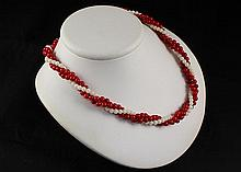 Vintage Pearl Coral Red & White Twisted Necklace - L23258