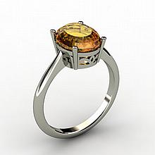 Citrine 2.40 ctw Ring 14kt White Gold - L15274