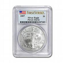 2007 1 oz Silver American Eagle MS-70 PCGS (FS) Registry Set - L22920