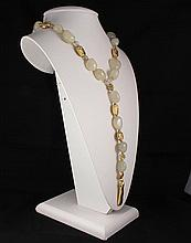 Natural Stone Handmade White Quartz Necklace - L23286
