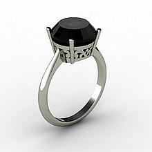 Black Diamond 4.00 ctw Ring 14kt White Gold - L15223
