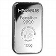 100 gram Heraeus Silver Bar (Pressed, Germany) - L24743