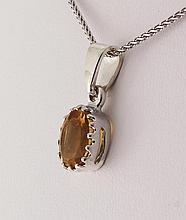 Sterling Silver Prong Set Pendant with Citrine Crystal - L23964