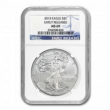 2013 Silver American Eagle MS-69 NGC (Early Releases) - L22477