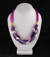 Various Semi Precious Gemstone Handmade Crafts Necklace - L23228