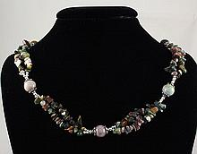 303.64CTW EARTHY AGATE CHIPS NECKLACE W/ METAL LOCK - L22347