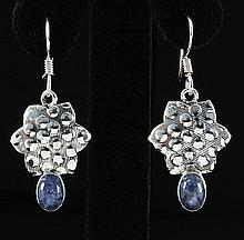 1.70CT Cabochon Tanzanite Dangling .925 Earring 4.06g - L20135