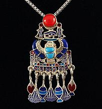 10.63g Egyptian Jewelry - Scarab Beetle Symbol .925 Pendant - L21764