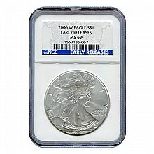 Burnished 2006-W Silver Eagle MS69 Early Release NGC - L21416