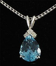 3.49 carat Natural Blue Topaz Oval & Diamond Necklace 14kt Wgold - L22418