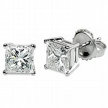 1.00 ctw Princess cut Diamond Stud Earrings G-H, VVS - L11539