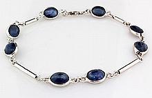 Natural 12.40CT Sapphire Gemstone Silver Bezel Bracelet 3.47g - L20360