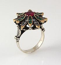 Natural Stone Statement Victorian Design Ring - L23187