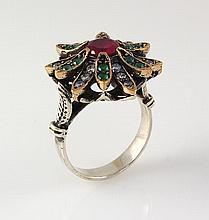 Natural Stone Statement Victorian Design Ring - L23187