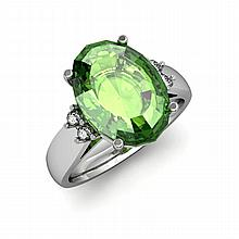 Tourmaline 6.80 ctw & Diamond Ring 14kt White Gold - L11875