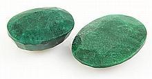 168.48ctw Faceted Loose Emerald Beryl Gemstone Lot of 2 - L20464