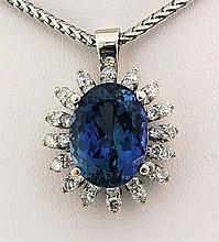 9.20 carat Tanzanite & Diamond Pendant 14kt White Gold - L22406