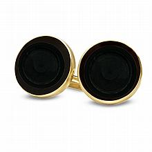 14k Gold Onyx Polished Coin Cuff Links - 14mm - L19886