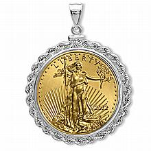 12 1 oz Gold Eagle White Gold Pendant (Rope-ScrewTop Bezel) 14KT - L19894