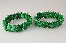 Natural Jade 384.00ctw Stretch Bracelet Lot of 2 - L22010