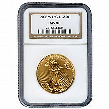 Certified American $50 Gold Eagle 2006-W MS70 NGC - L21599