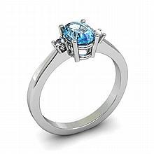 Aqua Marine 0.75ctw Ring 14kt White Gold - L11034