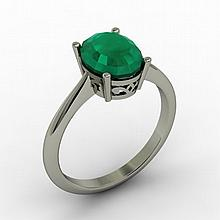 Emerald 1.90 ctw Ring 14kt White Gold - L15263