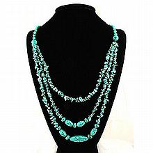 Gushing Sky Blue Turquoise 477.92ctw Beads Necklace - L22053