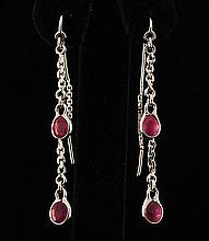 Sterling Silver Drop Dangle 10.07ctw Ruby Earring - L22310