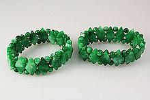 Natural Jade 383.85ctw Stretch Bracelet Lot of 2 - L22009