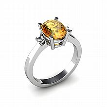 Citrine 1.75ctw Ring 14kt White Gold - L11059