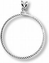 Sterling Silver Screw Top Diamond Cut Coin Bezel - 40.6mm - L25079