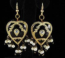 8.10GRAM INDIAN HANDMADE LAKH FASHION HEART EARRING - L19307