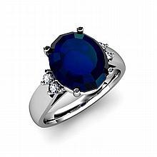 Sapphire 6.00ctw& Diamond Ring 14kt White Gold - L11860