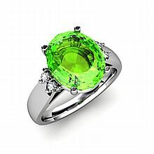 Peridot 4.00 ctw & Diamond Ring 14kt White Gold - L11858
