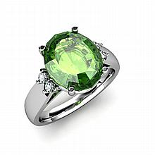 Tourmaline 5.25 ctw & Diamond Ring 14kt White Gold - L11863