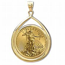 2012 1 oz Gold Eagle Teardrop Pendant (Prong Bezel) 14KT - L19892