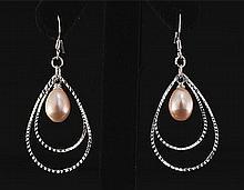 Pearl Dangling 3.72g Diamond Cut Design Silver Earring - L22087