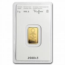 5 gram Austrian Mint Gold KineBar .9999 Fine (In Assay) -New Bars - L28154