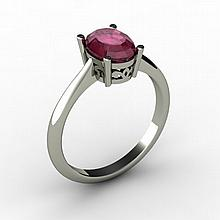 Ruby 1.55 ctw Ring 14kt White Gold - L15255