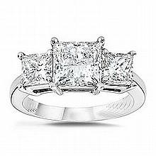 3.00 ctw Princess cut Three Stone Diamond Ring, G-H, SI2 - L11406